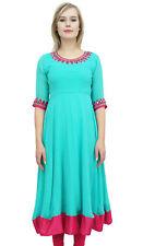 Bimba Femme Turquoise Brode Anarkali Georgette Indien Vetements ethniques
