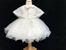 Wunderschön Baby Girl Elfenbein Taufe Tutu Kleid mit Umhang Puff Ball Anlass