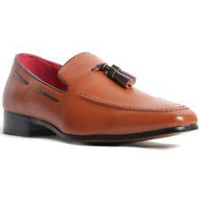 Para hombres cuero forrados con antideslizante en mocasines zapatos tacón occidental Marrón Mate