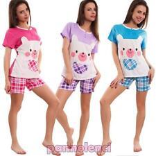 Pijama de mujer intimo completo camiseta pantalones cortos escocés nuevo 7103