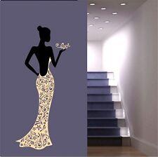Black Lady Dress Wall Stickers Madam Decals Bedroom Stencil Huge Flowers Motives