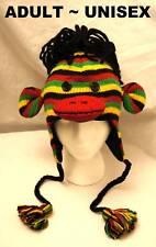deLux REGGAE MONKEY HAT knit animal SKI CAP Lined Jamaica costume ADULT raggae
