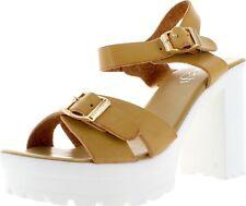 Refresh GAGA-03 Women's Fashion Buckle Platform Ankle Strap Chunky Heel Sandal