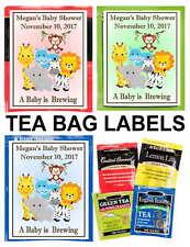 15 JUNGLE ZOO SAFARI BABY SHOWER TEA BAG LABELS - PERSONALIZED