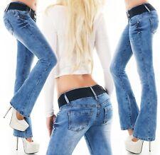 Damen Bootcut Jeans Hose Schlaghose Blue Washed Denim Stretch Gürtel XS S M L XL