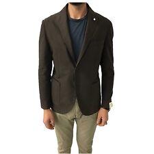 L.B.M 1911 chaqueta de hombre sin forro marrón oscuro dibujo diagonal 65%