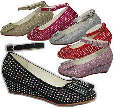 Chicas Diamante Dama Fiesta Boda Sandalias Bebés Fancy Dress Zapatos arco