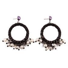 Simulated Pearl Earrings for Women Drop New Handmade Chunky Bead Braided Dangle
