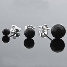 Sale Men's 925 Sterling Silver Black Round Onyx Single Stud Earring 4mm-8mm NEW