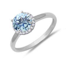 Aquamarine Halo Diamond 14k White Gold Engagement - .97 Tcw