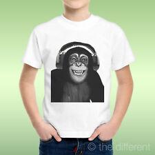 T-Shirt Bambino Ragazzo Scimmia Cuffie Smile Monkeyidea Regalo