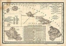 1893 Map of the Hawaiian Islands Vintage Wall Art Poster Print Decor Repro