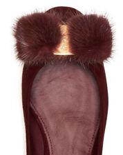 $600 NIB Ferragamo Varina Mink Fur Bow Ballet Flats Bordeaux 7 7.5 8.5 9 10 B/M