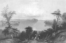 SARATOGA LAKE NY ~ Old Antique 1838 Landscape Art Print Engraving