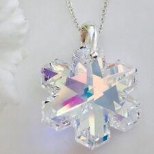 925 Silver Swarovski Elements Crystal Snowflake Necklace Pendant AB Santa  Gift