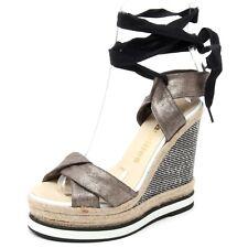 B4983 sandalo donna ESPADRILLES BULL scarpa zeppa nero/oro shoe sandal woman