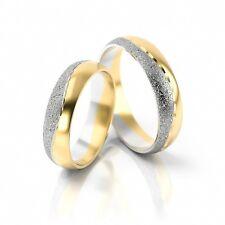 1 Paar Trauringe Eheringe Hochzeitsringe Gold 333 - Bicolor - Breite: 5 mm - WOW