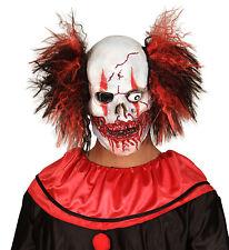 Cráneo de payaso sangrientos Máscara Con Cabello Manic Zombie Máscara Halloween Aterrador Mal