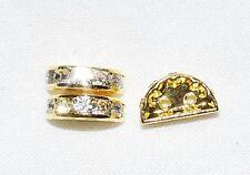 10 Rhinestone Spacer Half Moon Gold/Crystal 2 hole HE26
