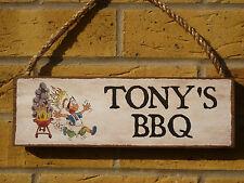 Signo Personalizado Barbacoa BBQ signo Gracioso de Madera Barby signo propio nombre signo de jardín