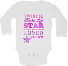 Twinkle Twinkle Little Star Personalized Long Sleeve Baby Vests Girls Unisex