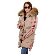 Beige Jacke mit Streifen und Kapuze aus Waschbär Steppjacke mit Raccoon Fell