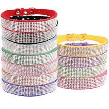 Comfortable Suede Fiber Crystal Dog Collar Glitter Rhinestone Dog Products