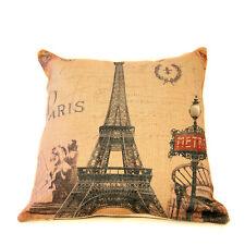 """PARIS EIFFEL PRINT COLOR LINEN PILLOW COVER BURLAP 18""""x18"""" TAPESTRY VINTAGE"""