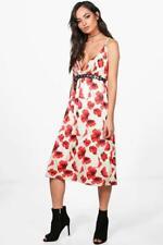 New Womens Gia Poppy Print Plunge Midi Skater Dress Ivory Size 8