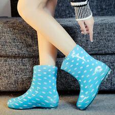Women's Ankle Rain Boots Anti Slip Waterproof Slip On Work Garden Booties Shoes