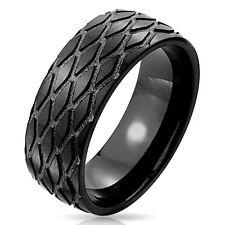 Anello in acciaio inox PNEUMATICO RUOTA PROFILO tire wheel MOTOCICLISTA NERO IP