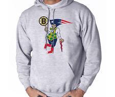 BOSTON Fan Sport Grey Hoodie HOODED SWEATSHIRT Bruins Patriots Celtics Red Sox