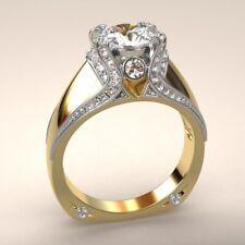 Fashion 18k Yellow Gold Plated Wedding Bridal Ring White Sapphire Size 6-10