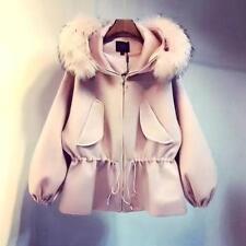 Korea Women Hooded  Warm Coat Winter Outwear Fur Wool blend Short Jacket Coats