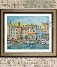 Beach Art print seaside fishing village.Print only unframed, signed original.