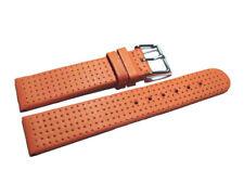 Uhrenarmband - Leder - Glatt mit Lochung - orange - 18,20,22,24 mm