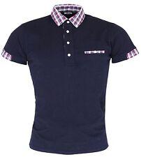 Relco Men's Navy Blue Checked Button Down Collar Mod Skinhead Polo Shirt
