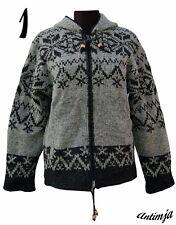 Winterjacke 100% Wolle Strick Kapuze Hippie Warme Wolljacke gefüttert Strick