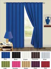 Plain Cortinas Térmica respaldado Luz reducir cortinas Ready Made 10 Colores