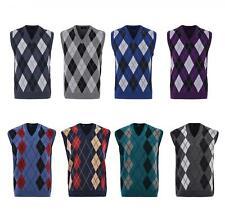 Mens Knitted Sleeveless Tank Top V Neck Knitted Slipover Diamond Pattern