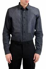 7a90fd3f883 Christian Dior Homme Soie Gris Foncé Robe Manches Longues Taille de Chemise  15.5