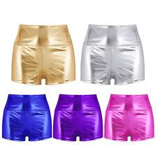Women Shiny Metallic High-waisted Shorts Hot Pants Sport Gymnastic Workout Dance