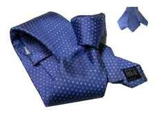Cravatta azzurra scura con disegni azzurri micro pallini jaquard seta italiano