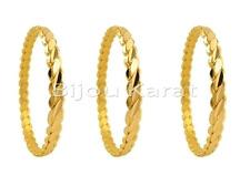 3x Burma B Ilezik üclü Pulseras De Oro Brazalete 24 Quilates Dorado Altin 0,8 cm