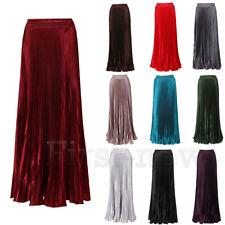 Women's Stylish Summer Metallic Pleated Elastic Waist Dreamed Long Maxi Skirt