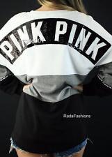 Victoria's Secret PINK Sequin Varsity Tunic Crew Oversize Sweatshirt Bling Top