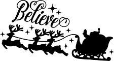 Believe Santa Sleigh Christmas vinyl sticker decal shop home wall door window