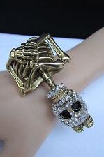 Women Bracelet Fashion Gold Bling Skeleton Jewelry Halloween Cuff Skull Bones