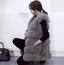 Womens Fox Fur Sleeveless Coat Winter Vest Warm Thick Waistcoat Parkas Overcoat