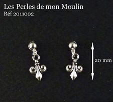 1 Paire Boucles d'Oreille Fleur de Lys Argentée/2011002